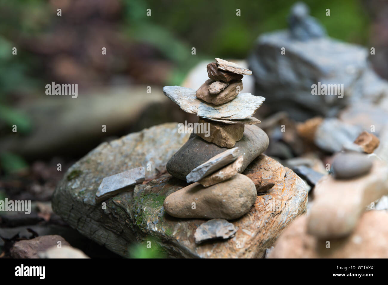 small Stone tower to pray for Korea's wish - Stock Image