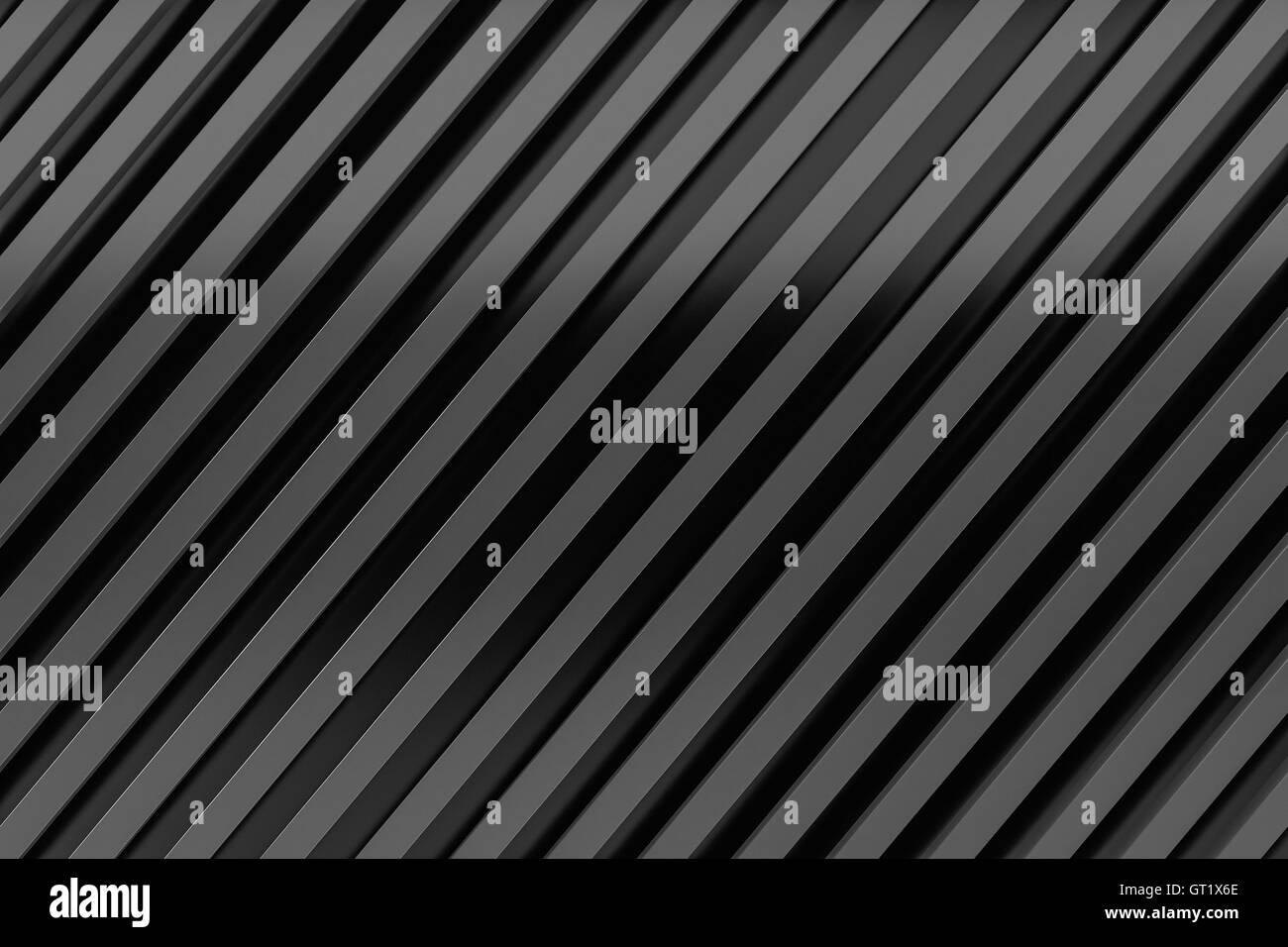 black siding oblique line layout metal material background 3d render - Stock Image
