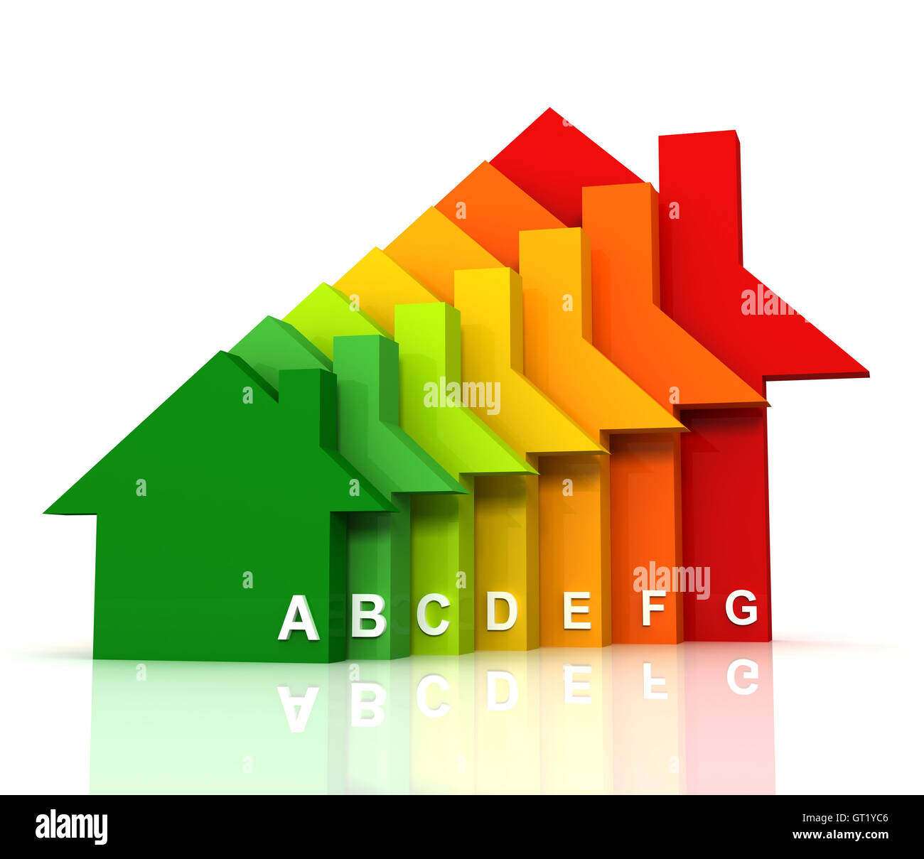 energy efficiency bar chart concept  3d illustration - Stock Image