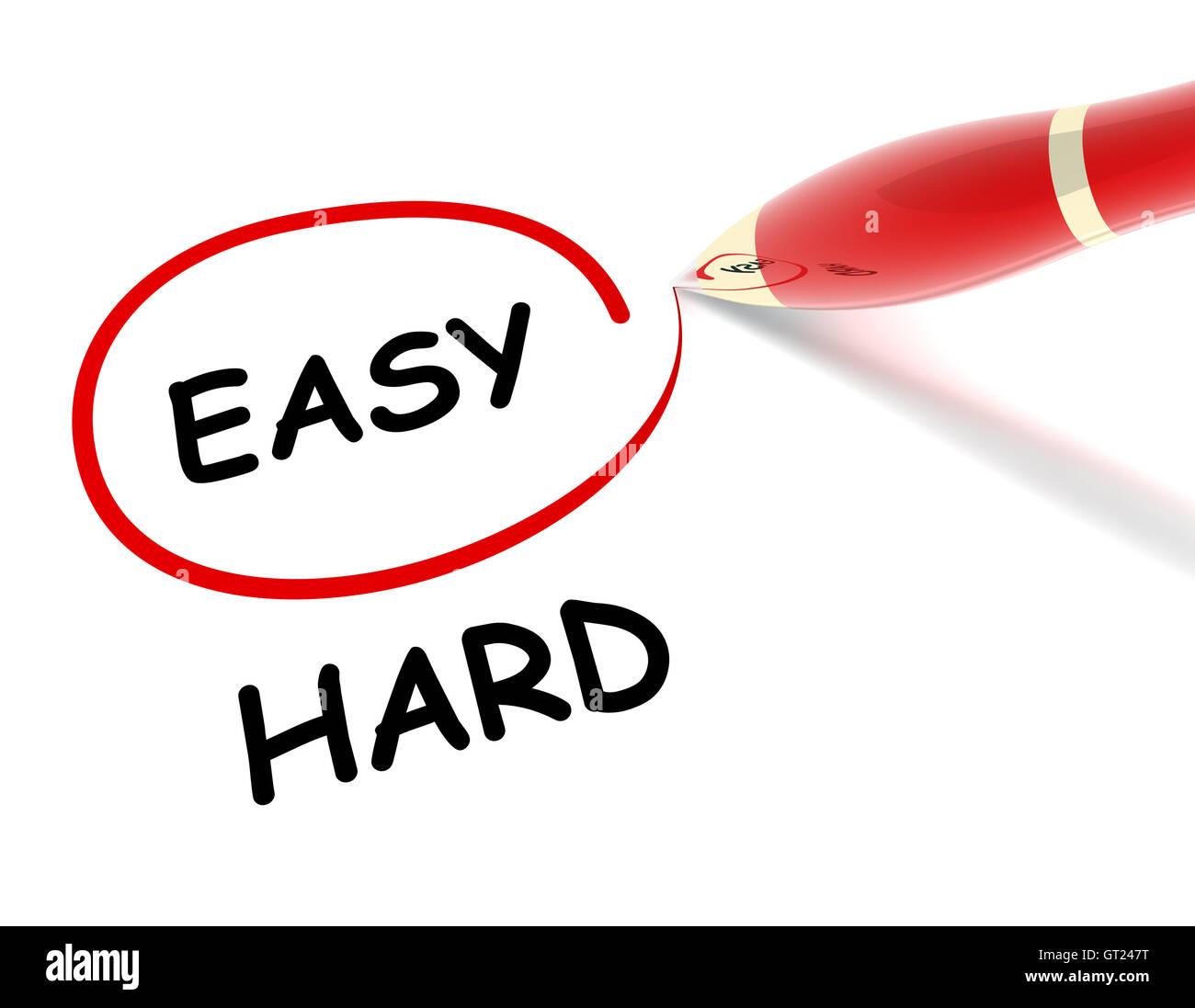 easy hard concept  3d illustration - Stock Image