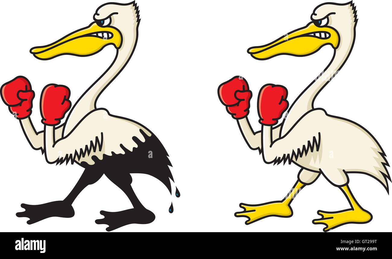 Angry pelican vector illustration. Fighting pelican cartoon with boxing gloves. Include clean version and oil soaked - Stock Image