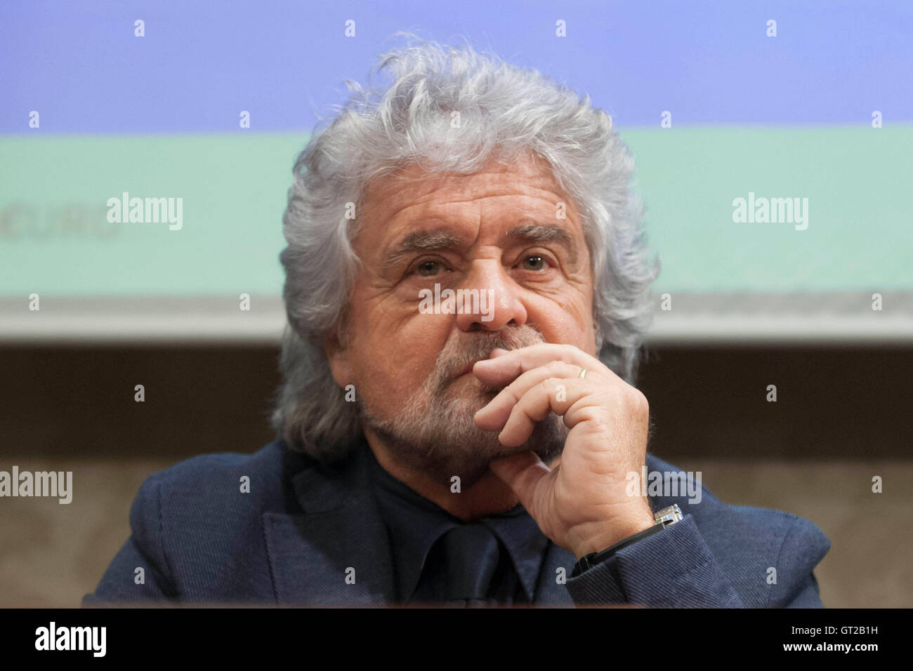Beppe Grillo Rome 8th September 2016 Movement 5 Stars party. Photo Samantha Zucchi Insidefoto - Stock Image