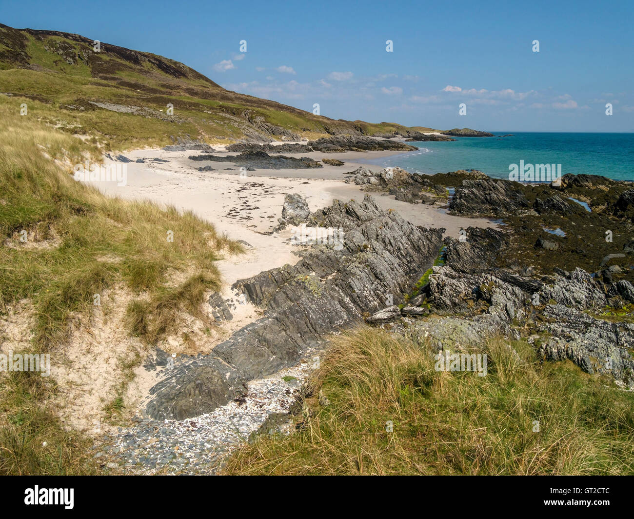 Glorious deserted sandy beaches at Port a Chapuill on the remote Hebridean Island of Colonsay, Scotland, UK. - Stock Image