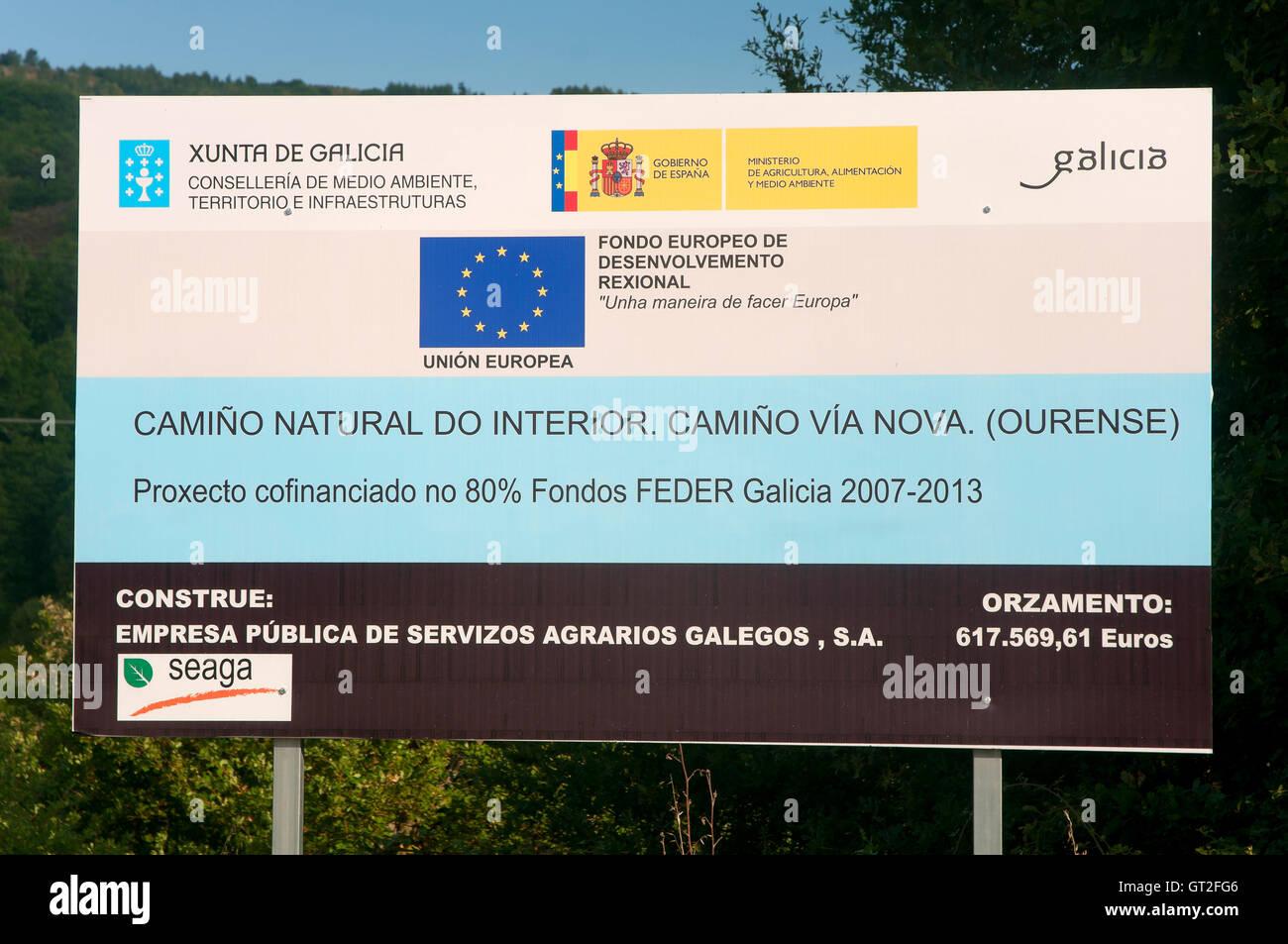 Poster ERDF funds, Bande, Orense province, Region of Galicia, Spain, Europe - Stock Image
