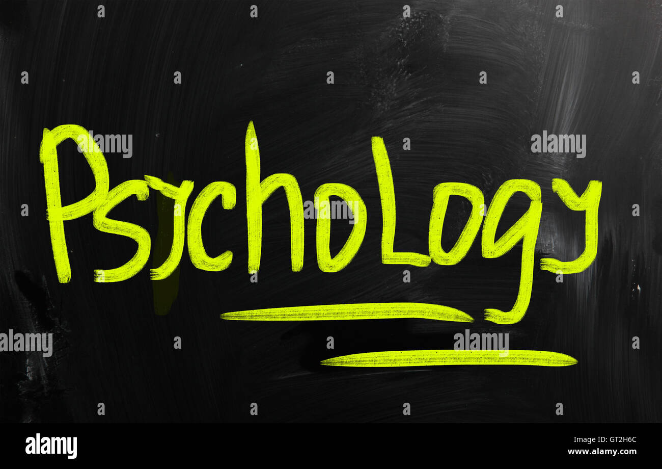 'Psychology' handwritten with chalk on a blackboard - Stock Image