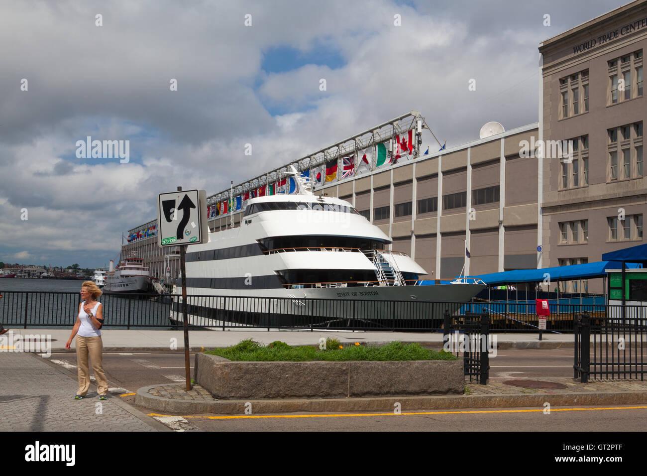 Boston,Massachussetts,USA - July 14,2016:Tourist ship in harbor. Boston tourism annually brings about 8 billion - Stock Image