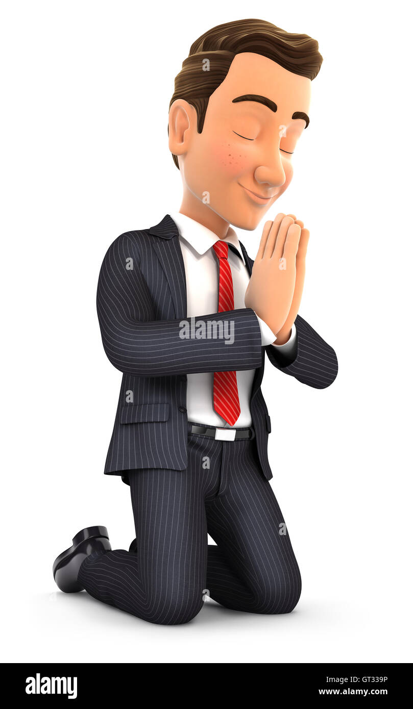3d businessman on his knees praying, illustration with isolated white background Stock Photo