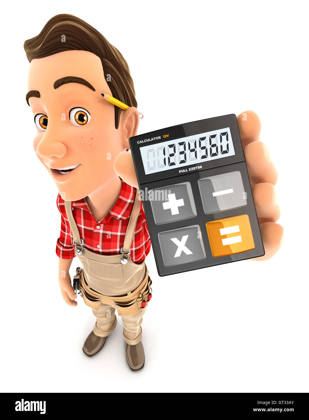 3d handyman holding calculator, illustration with isolated white background - Stock Image