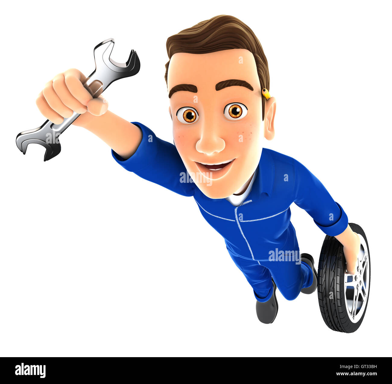 3d mechanic flying with wrench and wheel, illustration with isolated white background Stock Photo