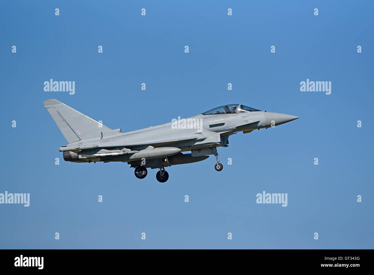 RAF Lossiemouth Military Fast Jet Eurofighter Typhoon FRG4 Registration Serial ZK344.  SCO 11,234. - Stock Image