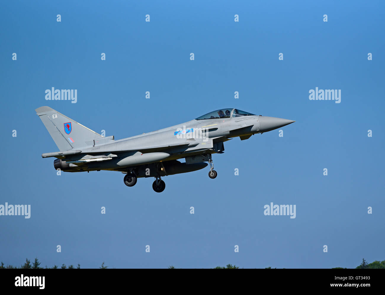 RAF Lossiemouth Military Fast Jet Eurofighter Typhoon FRG4 Registration Serial ZK342.  SCO 11,235. - Stock Image