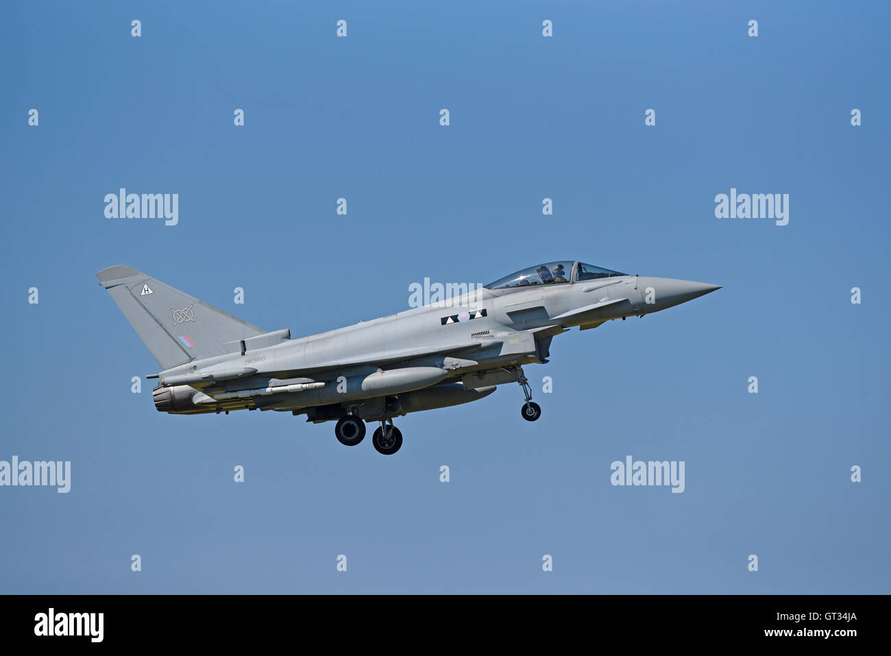 RAF Lossiemouth Military Fast Jet Eurofighter Typhoon FRG4 Registration Serial ZK300.  SCO 11,237. - Stock Image