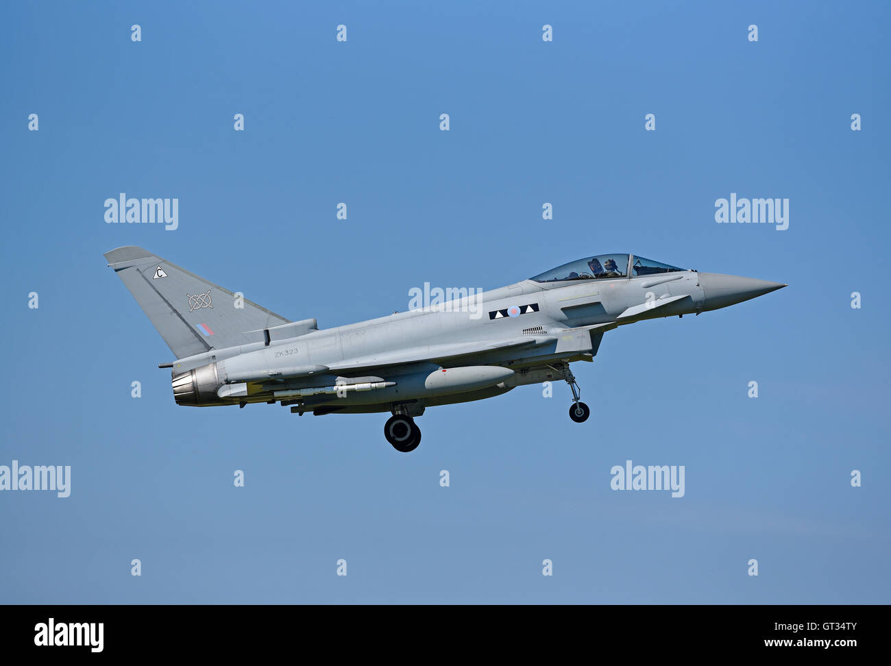 RAF Lossiemouth Military Fast Jet Eurofighter Typhoon FRG4 Registration Serial ZK323.   SCO 11,238. - Stock Image