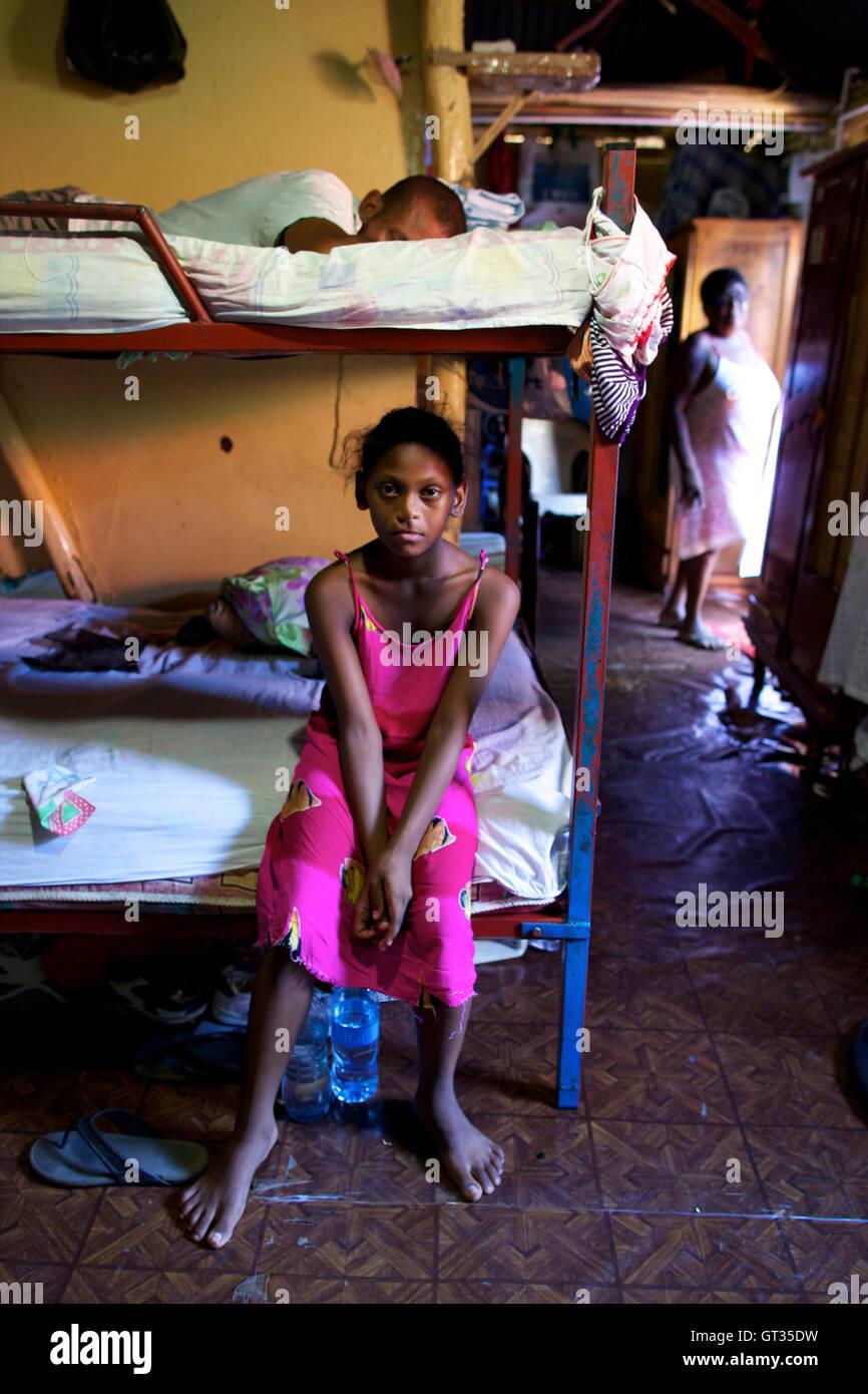 Chagos -  04/04/2012  -  Mauritius  -  A chagossian refugee family , Baie du Tombeau, Mauritius   -  Olivier Goujon Stock Photo