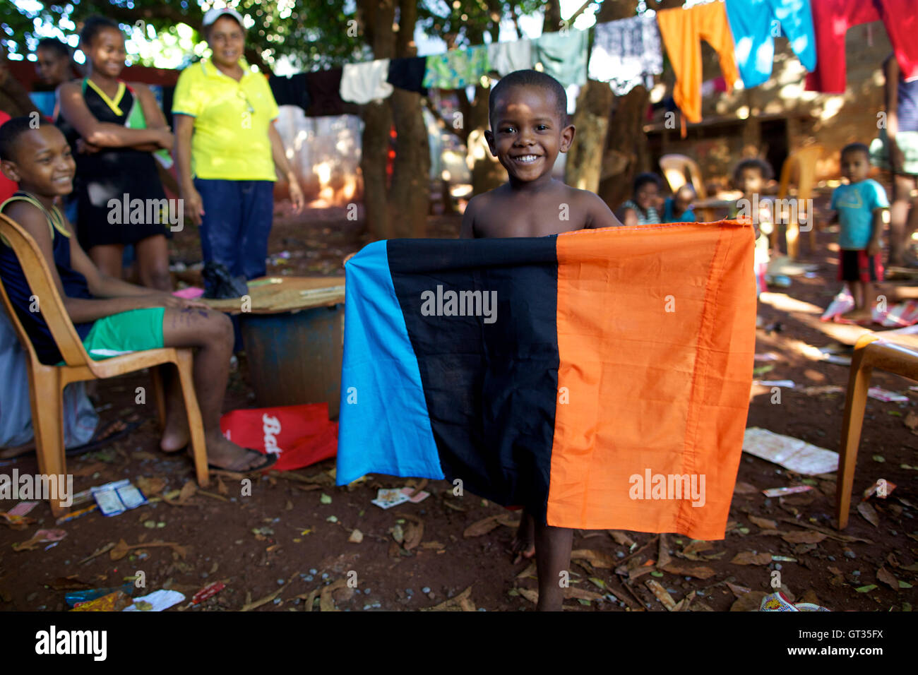 Chagos -  04/04/2012  -  Mauritius  -  Some Chagossiana refugees in the slum of Baie du Tombeau, Mauritius, with Stock Photo