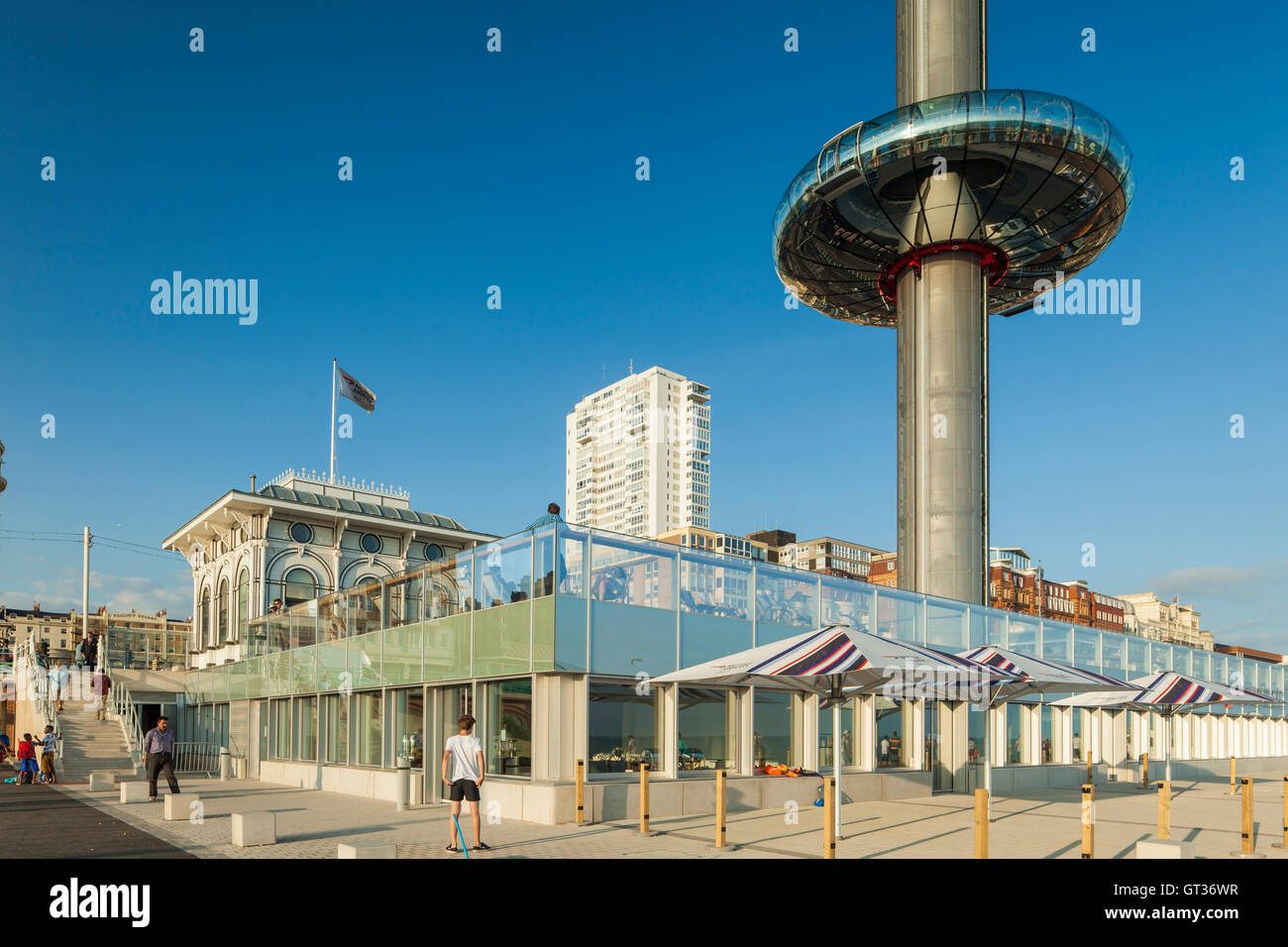 Summer afternoon at i360 viewing platform in Brighton, East Sussex, England. - Stock Image