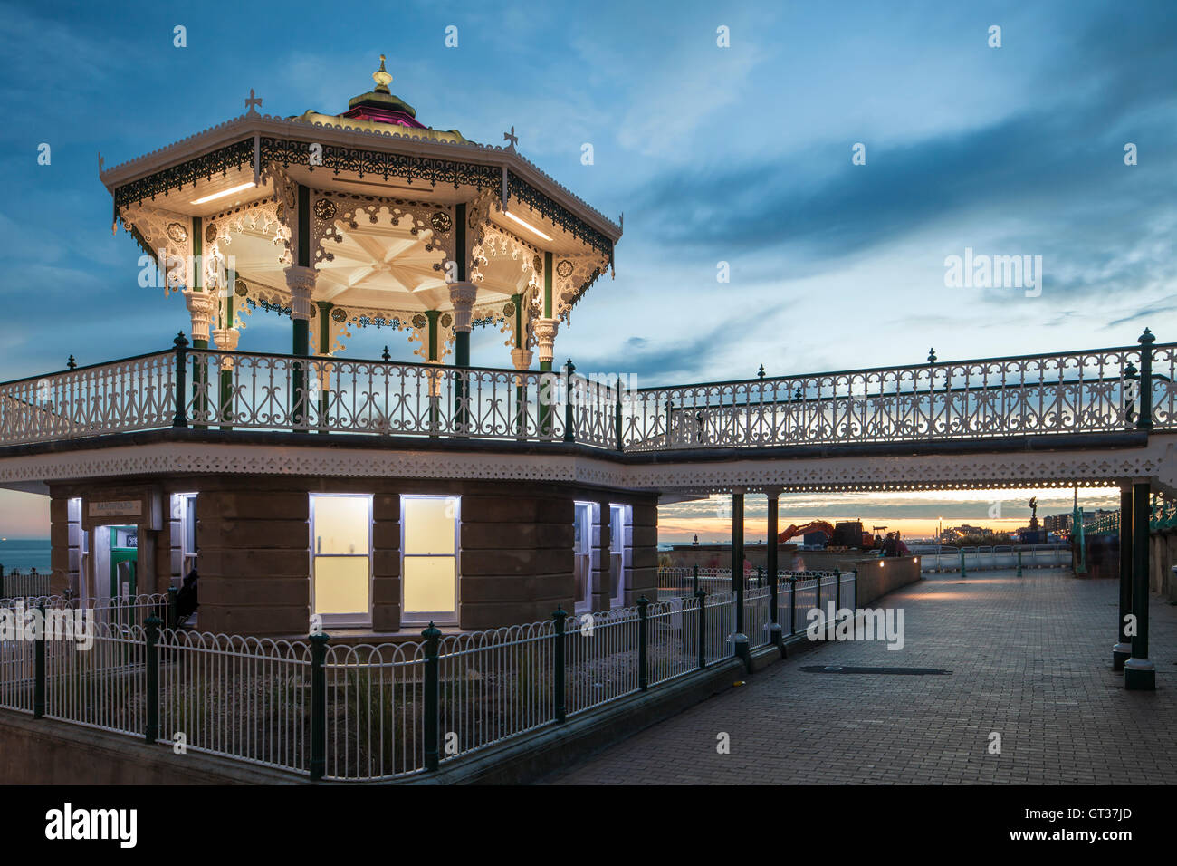 Summer evening at the Bandstand on Brighton seafront, East Sussex, England, UK. - Stock Image