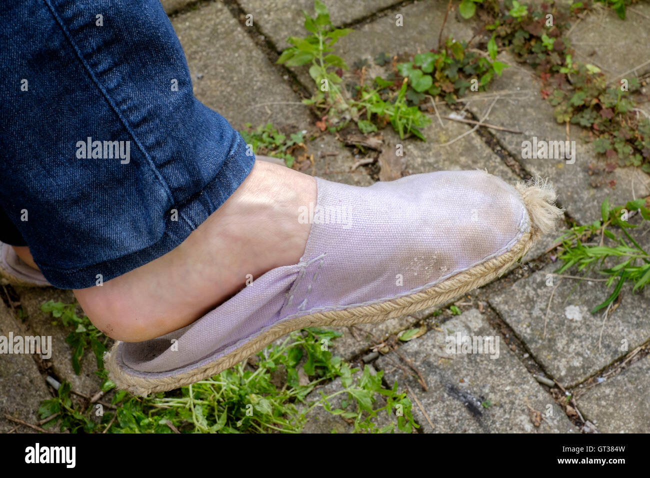 female wearing old worn out comfortable footwear - Stock Image