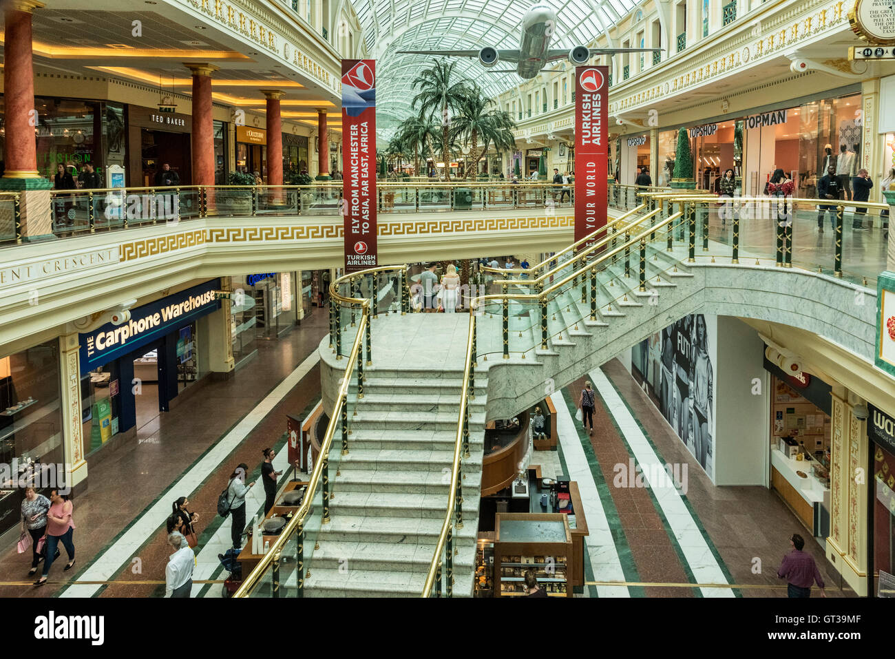 The interior of the Regnt crescent of the intu Trafford Centre shopping mall. Trafford Manchester North West England. - Stock Image