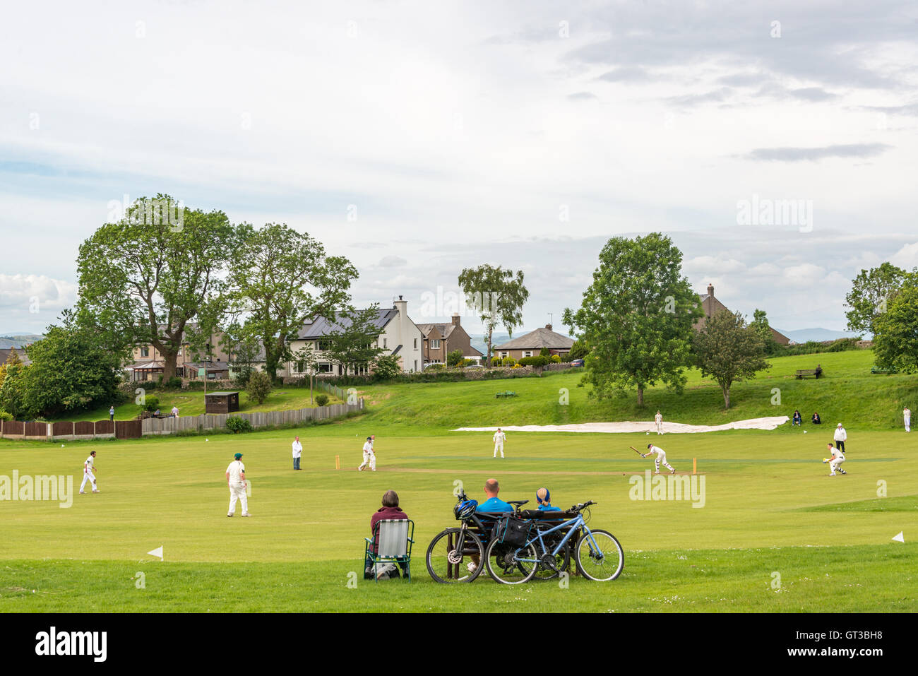 A cricket match near Arnside, Lancashire/Cumbria border - Stock Image