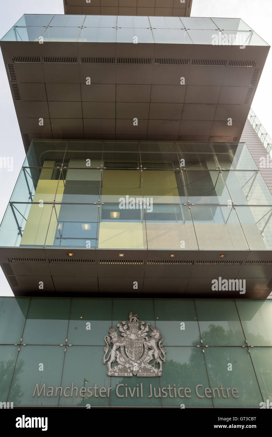 Front entrance to Manchester Civil Justice centre - Stock Image