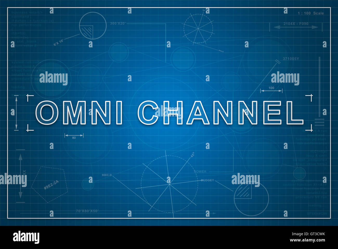 Omni channel marketing stock photos omni channel marketing stock omni channel on paper blueprint background business concept stock image malvernweather Image collections