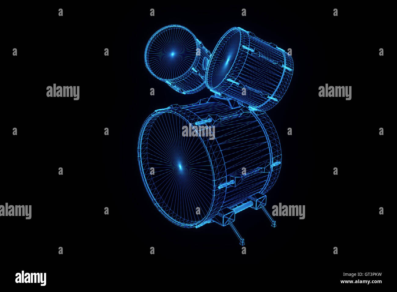 Nice 3D Drums in Wireframe or Hologram Style  Digital made