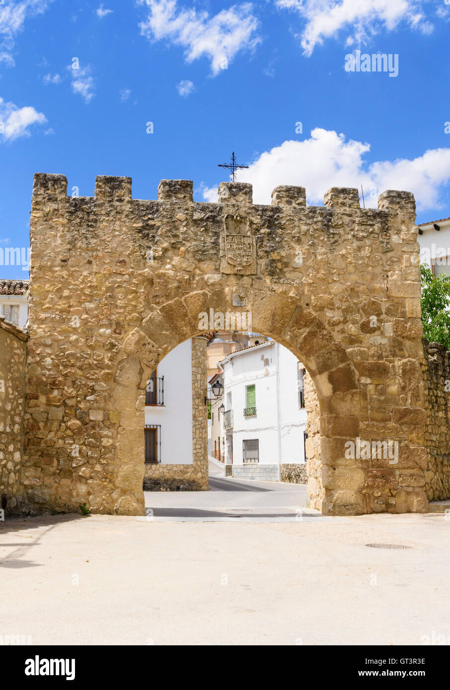 The Puerta del Agua, the entrance gate into the town of Ucles, Spain - Stock Image