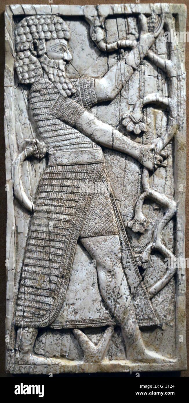 Neo-Assyrian period. Syrian style. 9th-8th century B.C. Nimrud (ancient Kalhu), Fort Shalmaneser, room SW7. Mesopotamia. - Stock Image
