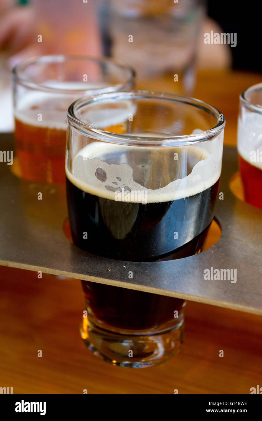 Beer Samplers at Brewery - Stock Image