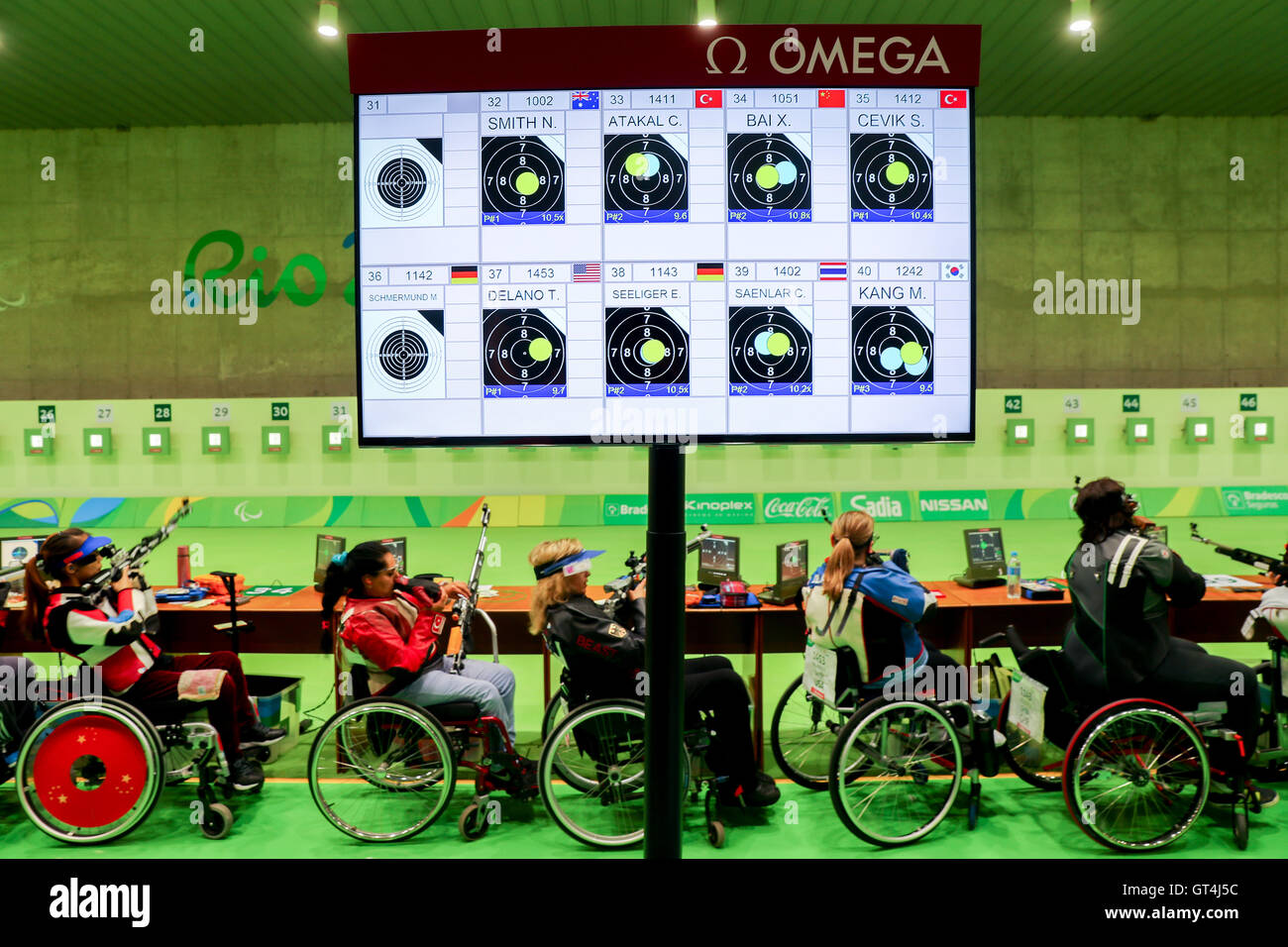 Rio De Janeiro, Brazil. 08th Sep, 2016. The scoreboard is seen during the Shooting R2 - Women's Qualification - Stock Image