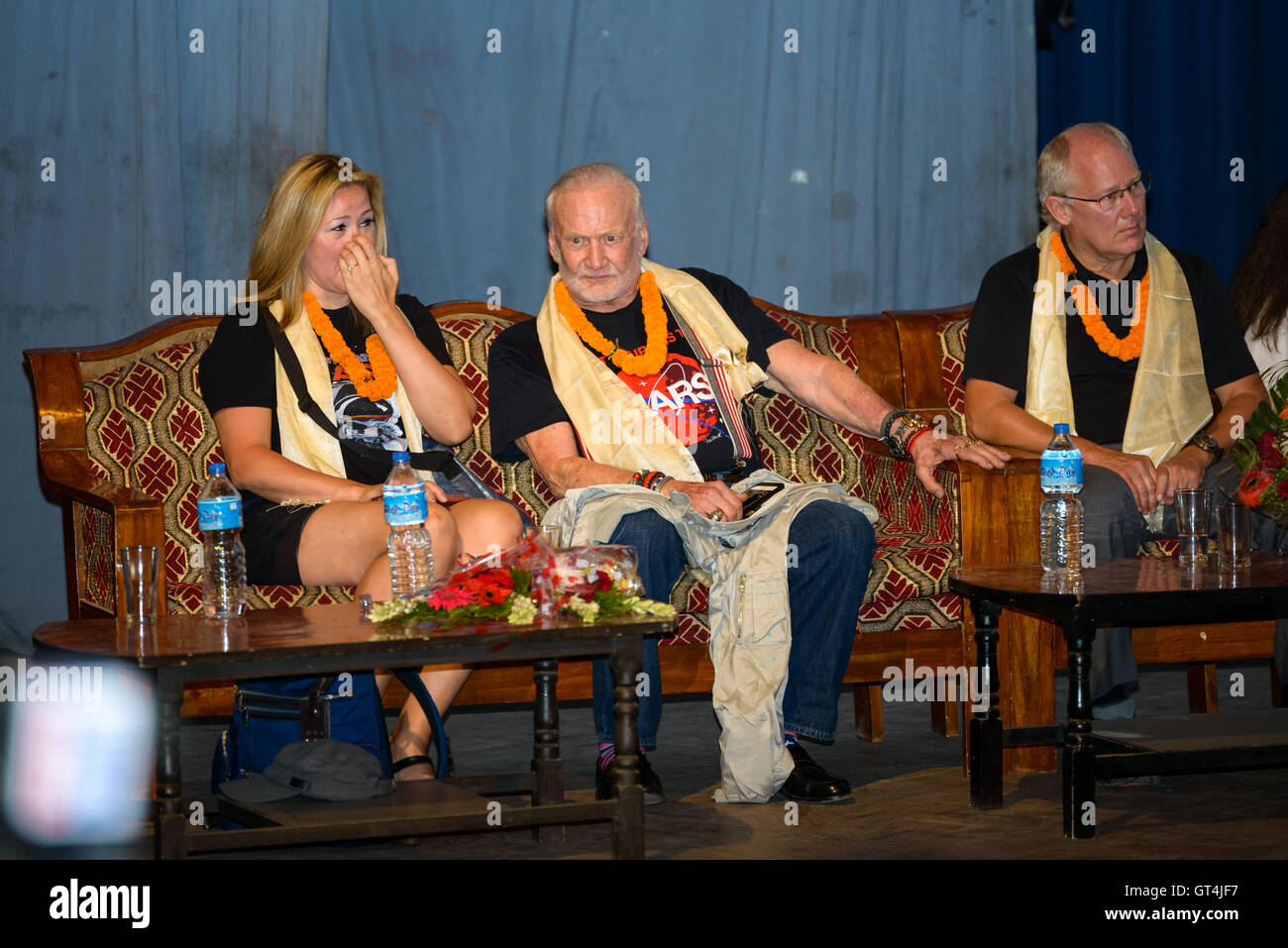 Kathmandu, Nepal. 8th September, 2016. American former astronaut Buzz Aldrin (centre) is at the Nepal Academy Hall - Stock Image