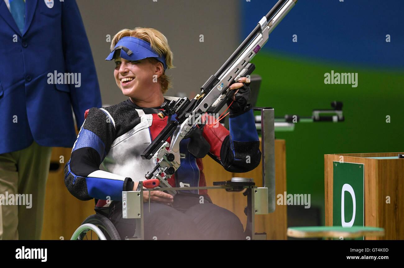 Rio De Janeiro. 8th Sep, 2016. Veronika Vadovicova of Slovakia celebrates after the Women's R2-10m Air Rifle - Stock Image