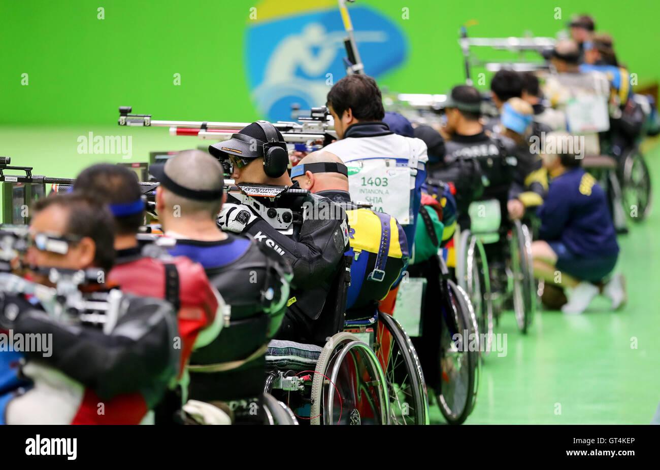 Rio de Janeiro, Brazil. 8th September, 2016. Rio de Janeiro, Brazil. 8th September, 2016. Athletes compete in Shooting - Stock Image