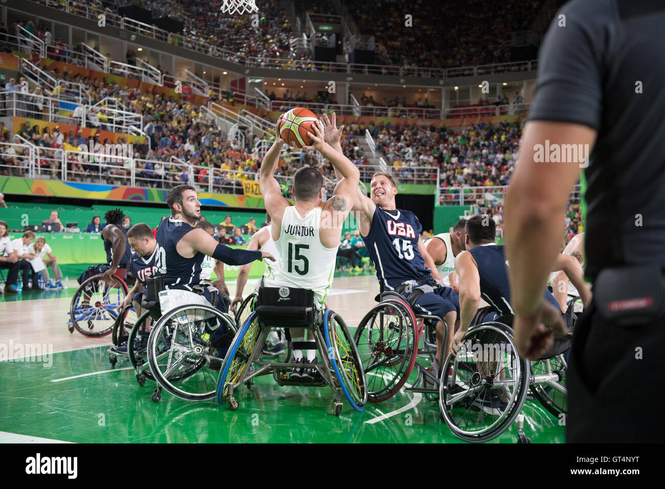 Rio de Janeiro, Brazil. 8th September, 2016. Men's wheelchair basketball action on the first day of competition - Stock Image