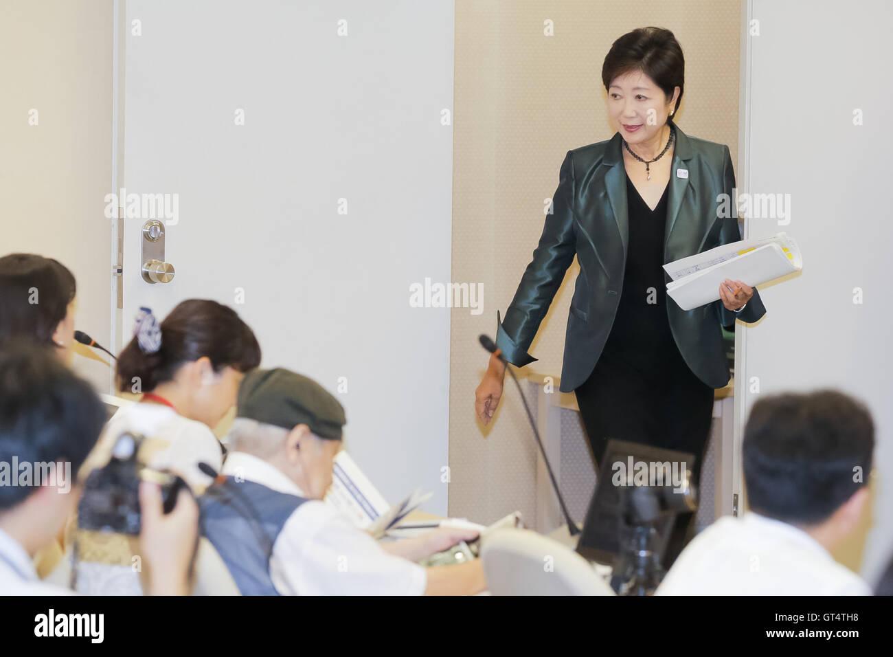 Tokyo governor Yuriko Koike attends a regular news conference at the Tokyo Metropolitan Government Building on September - Stock Image