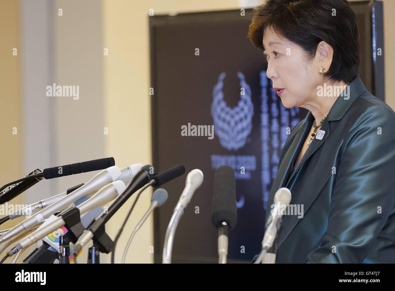 Tokyo governor Yuriko Koike speaks during a regular news conference at the Tokyo Metropolitan Government Building - Stock Image