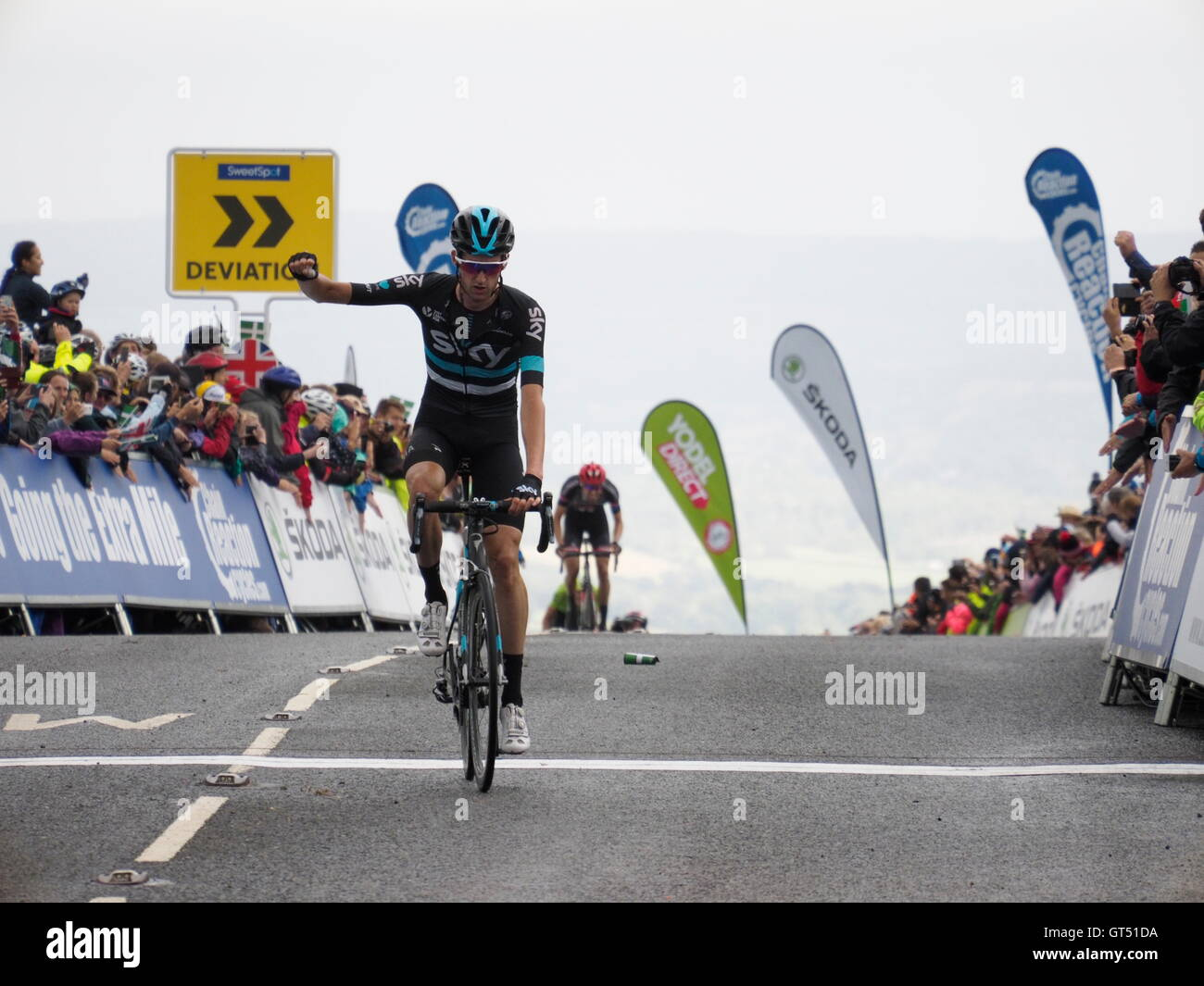 Haytor Dartmoor, UK. 9th Sep, 2016. Finish of Sidmouth to Haytor stage of the Tour of Britain Wouter Poels Team Stock Photo
