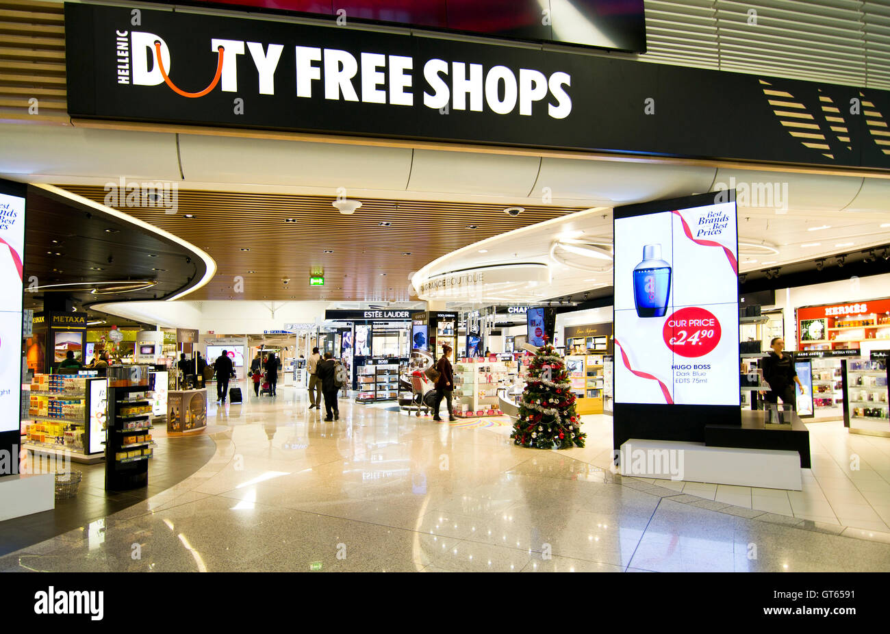 duty free shops at Eleftherios Venizelos airport in Athens Greece - Stock Image