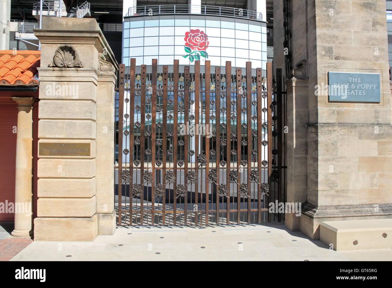 Rose and Poppy Gates, West Stand, Twickenham Stadium, Greater London, England, Great Britain, United Kingdom UK, - Stock Image