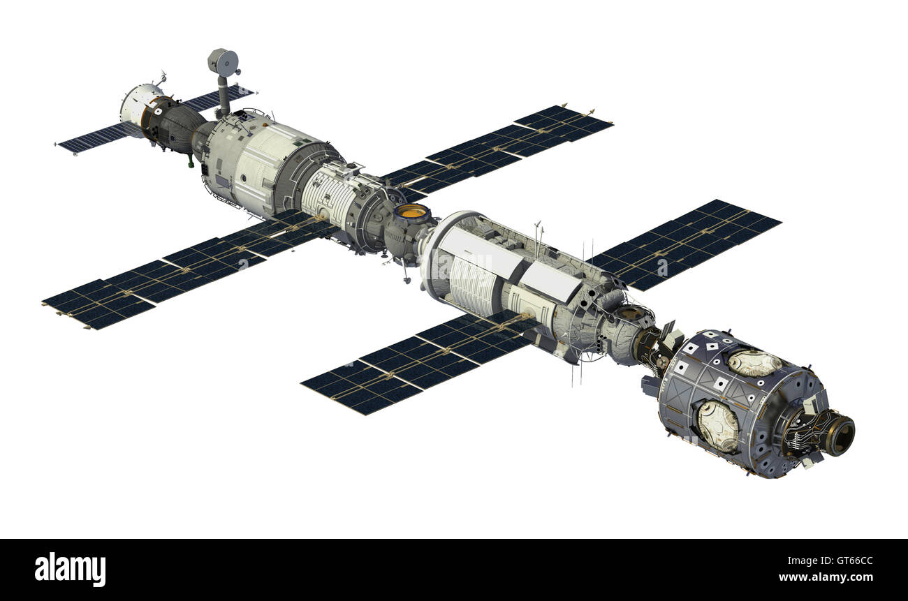 International Space Station On White Background. 3D Illustration. - Stock Image