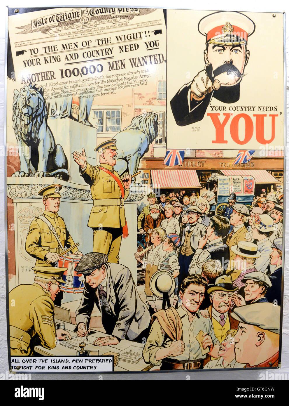 World War One 1 recruitment cartoon sketch sketches poster - Stock Image