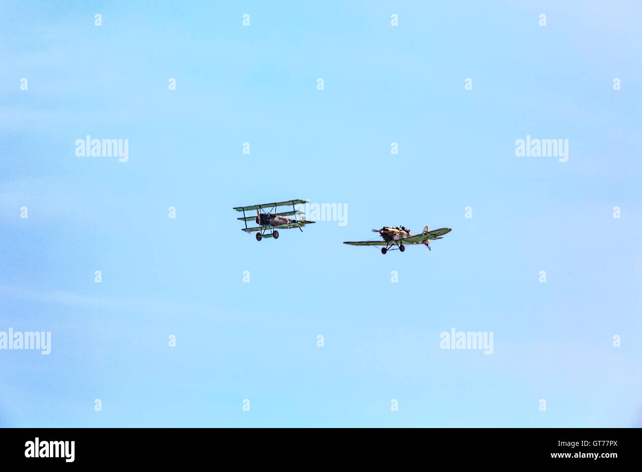The Great War Display Team, A Fokker Dr 1 Triplane and a Junkers CL1 at Eastbourne Airbourne International Airshow - Stock Image
