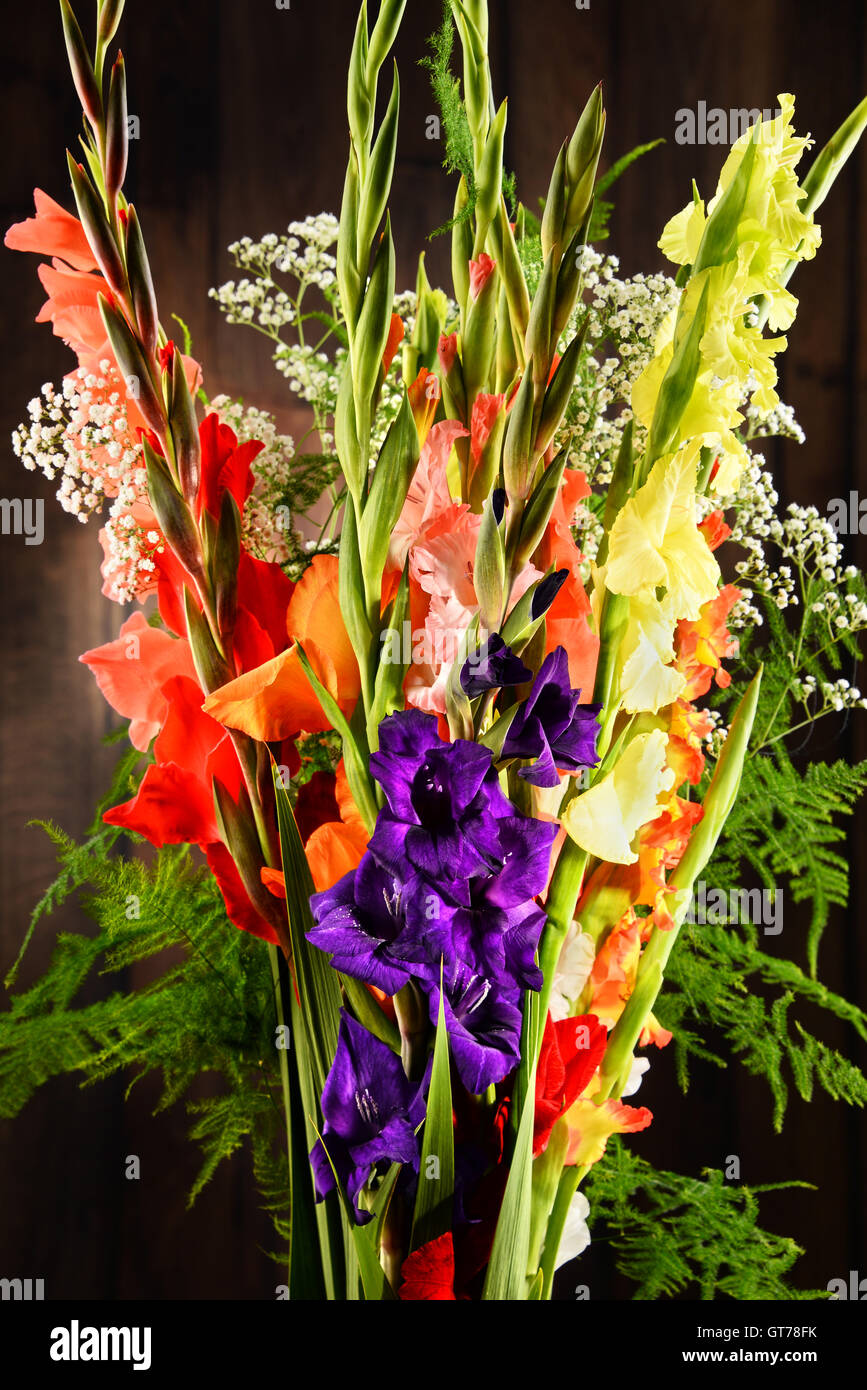 Composition With Bouquet Of Gladiolus Flowers Stock Photo Alamy