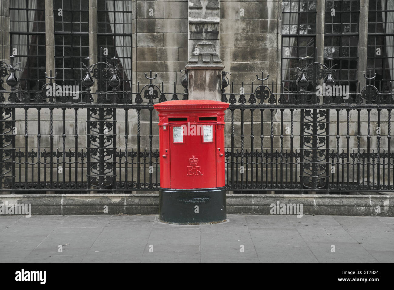 Red postbox,  London.   Royal Mail mailbox - Stock Image