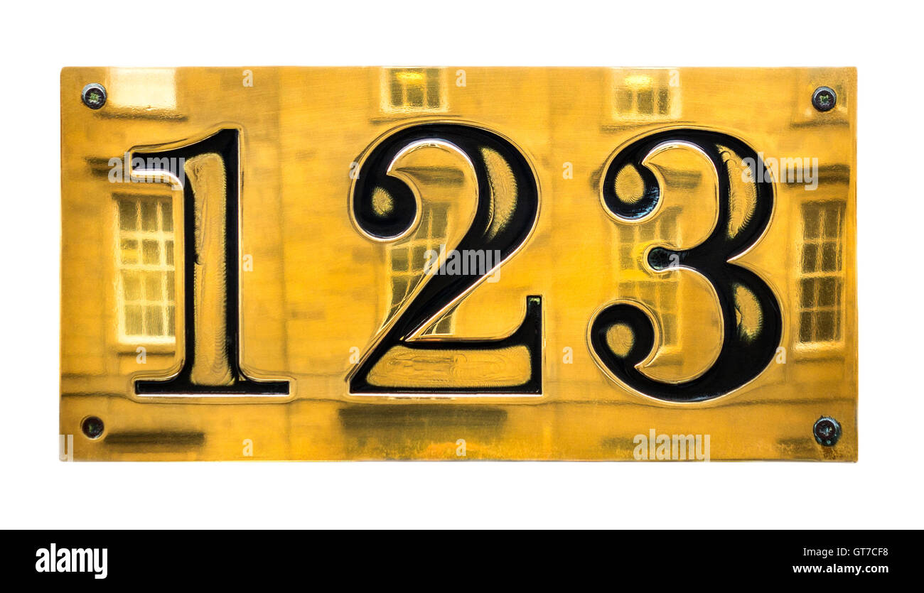 123 sign. Brass house number sign 123 cut out isolated on white background. - Stock Image