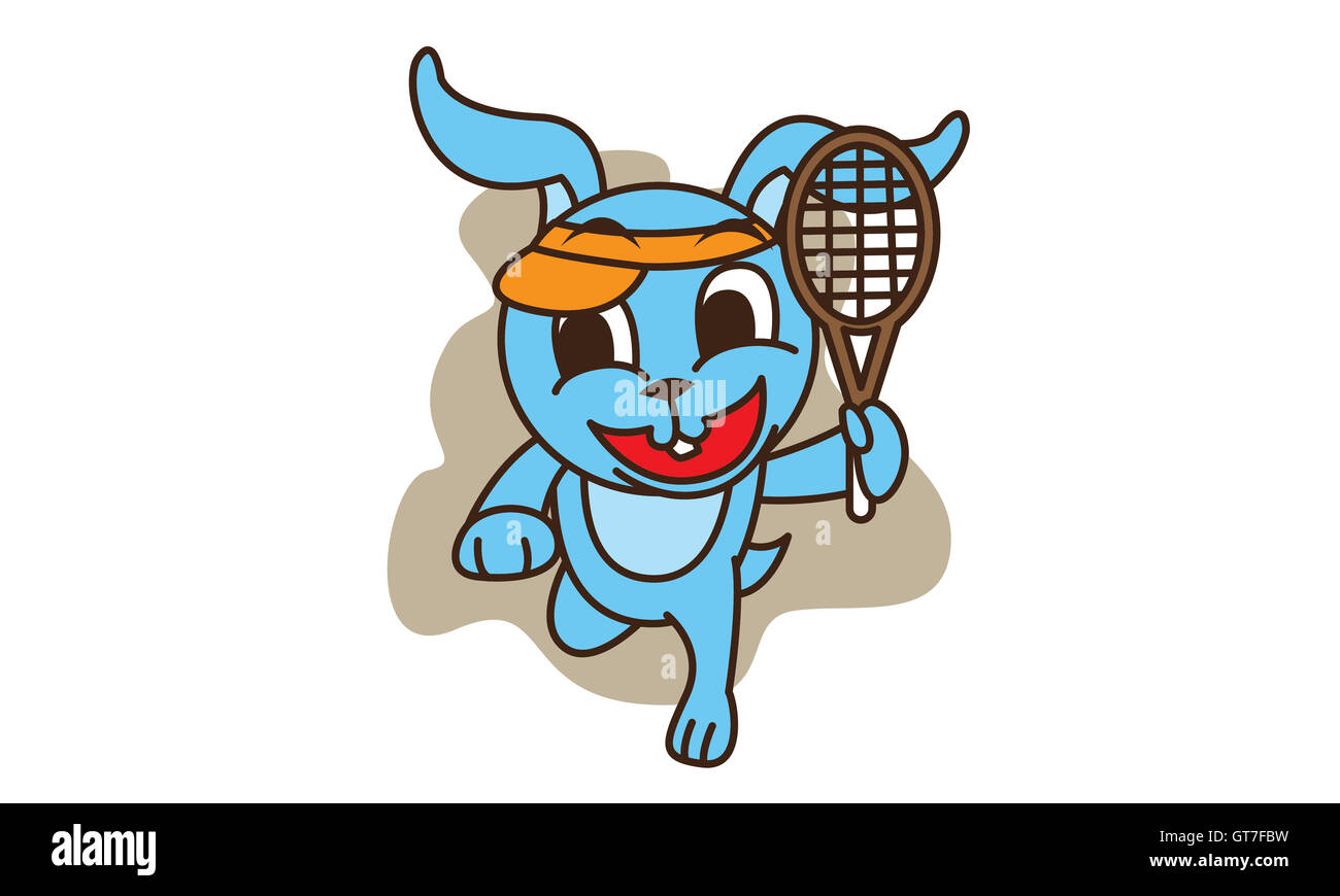 Rabbit playing tennis of vector - Stock Image