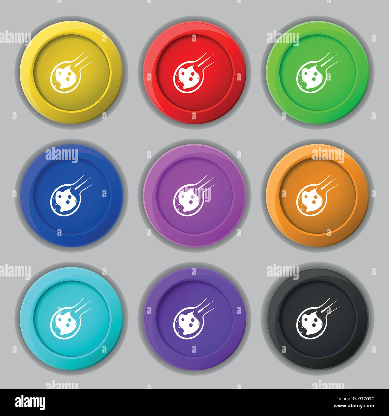 Flame meteorite icon sign. symbol on nine round colourful buttons. Vector - Stock Image