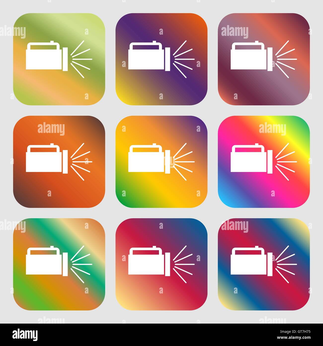 flashlight icon sign . Nine buttons with bright gradients for beautiful design. Vector - Stock Image