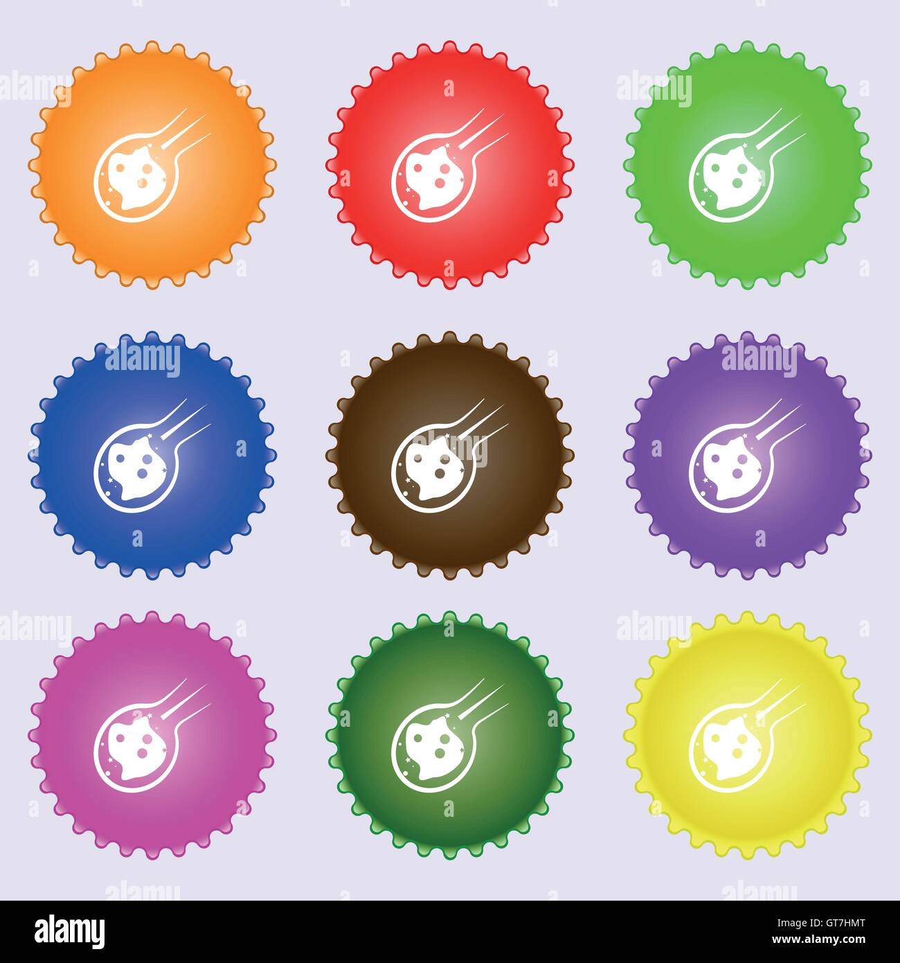 Flame meteorite icon sign. Big set of colorful, diverse, high-quality buttons. Vector - Stock Image